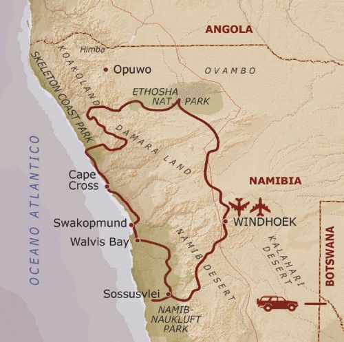 mappa Namibia Fly and Drive