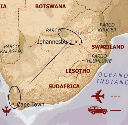 mappa Sudafrica fly and drive