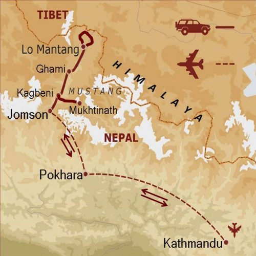 mappa Nepal – Mustang in jeep