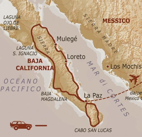 mappa Baja California – fly and drive